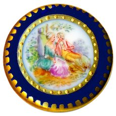 Button--Late 19th C. Hand Painted German Fine Porcelain Pastoral Scene