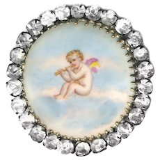 Button--Large Vintage Transfer Porcelain Cherub in the Clouds with Rhinestones