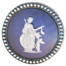 Button--Large Late 19th C. Wedgwood Classical Figures in Sterling Silver