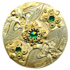 Button--Large 19th C.  Elegant Stamped Brass Overlay Engraved Brass with Jewels