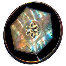 Button--Large Exquisite Quality Late 19th C. Precision Inlay Abalone Pearl in Black Glass in Brass