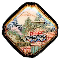 Button--Large Late 19th C. Satsuma Pottery Modified Square with Architectural Landscape
