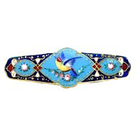 Brooch--Large Enamel Bar Pin Victoriana Colorful Bird in Turquoise