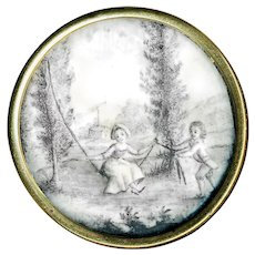 Button--Large Early 19th C. Ink Under Glass Children at Play in Gold-plated Brass