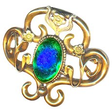 Brooch--Fin de Siecle Secessionist Motif Gold-plated Brass & Peacock Eye Glass Jewel