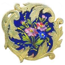 Button--Late 19th C. Rococo Asymmetrical Border Floral Enamel--Medium