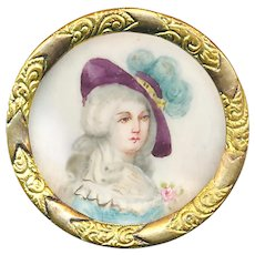 Button--Late 19th C. Painted Portrait Under Glass in Brass Drole Hat Lady