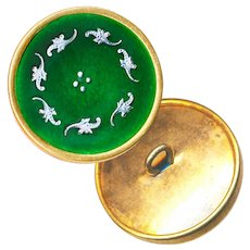 Button--Early 20th C. Ombrant Enamel with Silver Foil Paillons in Brass