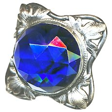 Button--Large Faceted High Domed Sapphire Blue Glass Jewel in Silver-plated Brass