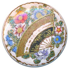 Button--Very Fine 19th C. Satsuma Pottery Floral Fan for Curved Needle