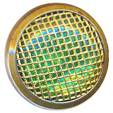 Button--Late 19th C. Screen Faced Green Glass Jeweled Paris Back Victorian Jewel