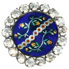 Button--Mid-19th C. Transparent Cobalt Enamel with Foil Paillon Florals & Rhinestone Border