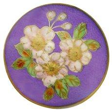 Button--Modern Satsuma Pottery Flowers on Wild Purple Crackle Ground--Medium