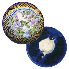 Button--Late 19th C. Satsuma Pottery Chevron Border on Cobalt Morning Glories--Medium