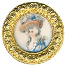 Button--Very Large Late 19th C. Portrait of Lady in Hat Under Glass in Brass