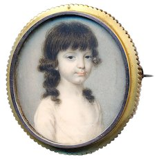 Brooch--Large 18th C. Georgian Hand Painted Portrait of Young Girl in 14 Karat Gold