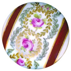 Button--Large Mid-19th C. Hand Painted Porcelain Bands & Roses