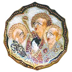 Button--Late 19th C. Very Fine Satsuma Lotus Shape Satsuma Immortals--Medium