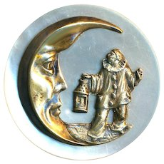 Button--Very Large Late 19th C. Brass Pierotte and Crescent Moon on Pearl