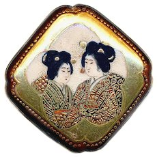 Button--Large Late 19th C. Modified Square Satsuma Pottery Two Women--Rich Gilt