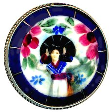 Button--Large Transfer Painted Porcelain Japanese Lady with Parasol in Silver