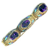 Bracelet--Vintage Sterling Silver Vermeil Chinese Filigree Baroque Amethyst Jewels and Enamel