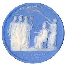 Button--Large Scarce Marie LaBarre Bennett Historical Jasperware Coronation of Victoria