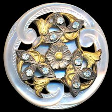 Button--Large 19th C. Trefoil Ajoure Carved Pearl with Jeweled Tulips Escutcheon