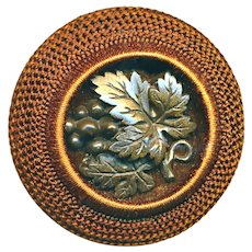 Button--Large Rare Gutta Percha Grapes on Wood in Needlework Mid-19th C.