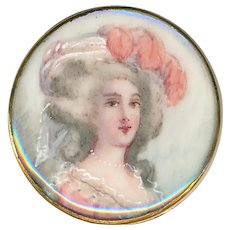 Button--Elegant 19th C. Portrait Under Glass in Gilded Brass Georgian Lady in Salmon