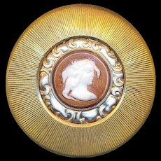Button--Large Early 20th C. Milk White Glass Cameo in Brass