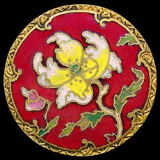 Button--Large Late 19th C. Champleve Enamel Chinoiserie Yellow Peony