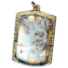 Pendant--19th C.  Rectangular Translucent Moss Agate in 14 Karat Gold