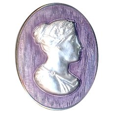 Button--Vintage Oval Basse Taille Enamel Cameo Lady on Sterling Silver--Medium
