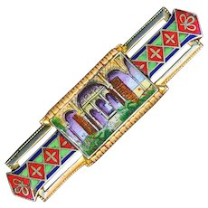 Brooch--Take Me to the Casbah--Vintage Art Deco Enamel on Brass Architectural Scene