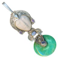 Pendant--Modern Sterling Silver Goddess in Opals, Amethysts, Aventurine, and Paua Shell with Carved Bone Face