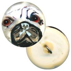 Button--Modern Hand Crafted Glass Paperweight Peeking Pug--Medium