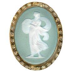 Button--Large Oval Late 19th C. Green Jasper Ware Female Figure in Brass
