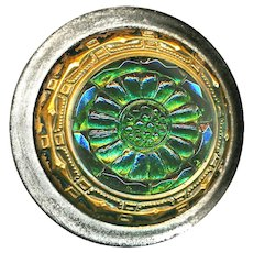 Button--Late 19th C. Emerald Green Lacy Glass in Brass Inner Border & Brushed Steel
