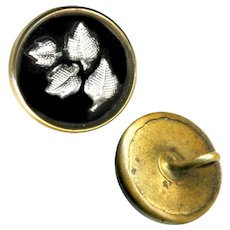 Button--Small 19th C. Foil Leaves Under Glass in Brass Waistcoat
