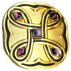 Button--Large Modified Square Vintage Gilded Brass with Black Trim and 4 Glass Amethysts