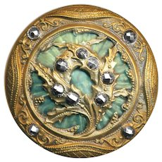Button--Large Late 19th C. Bromiliad-like Celluloid Under Brass with Cut Steels