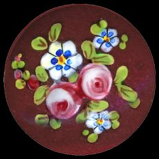 Button--Fine 19th C. Enamel Flowers on Red Ground on Thick Domed Gilded Copper