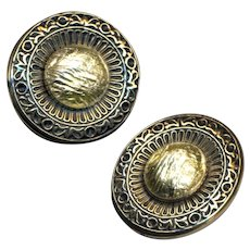 Button ~ ONE Large Late 19th C. Champagne Foil Glass Jewel in Brass