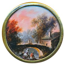 Button--Large 18th C. Georgian Painted Rustic Scene Under Glass in Gilded Copper