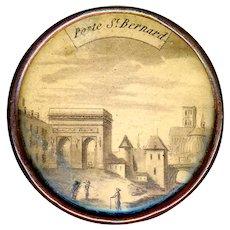 Button--Large 18th C. Georgian Sepia Paris Monument Scene Under Glass in Copper