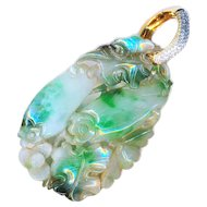Pendant--Large Double-sided Carved Fine Jade with 14 Karat Gold Diamond Bale