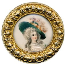 Button--Very Large Late 19th C. Painted Portrait of Lady Under Glass in Brass