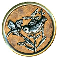 Button--Late 19th C. Extra Large Pewter Bird & Dragonfly on Wood in Brass