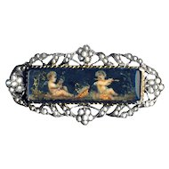 Brooch--Small Late Georgian Painting of Putti Under Glass in Fine Silver Vermeil & Tiny Pearls